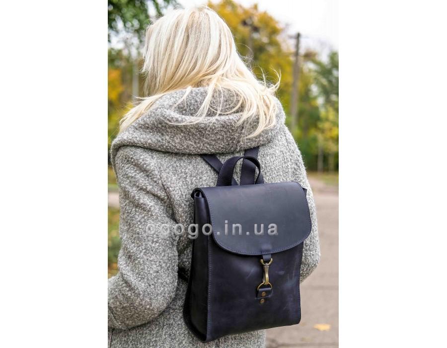 Синий кожаный рюкзак среднего размера ручной работы K00031-6