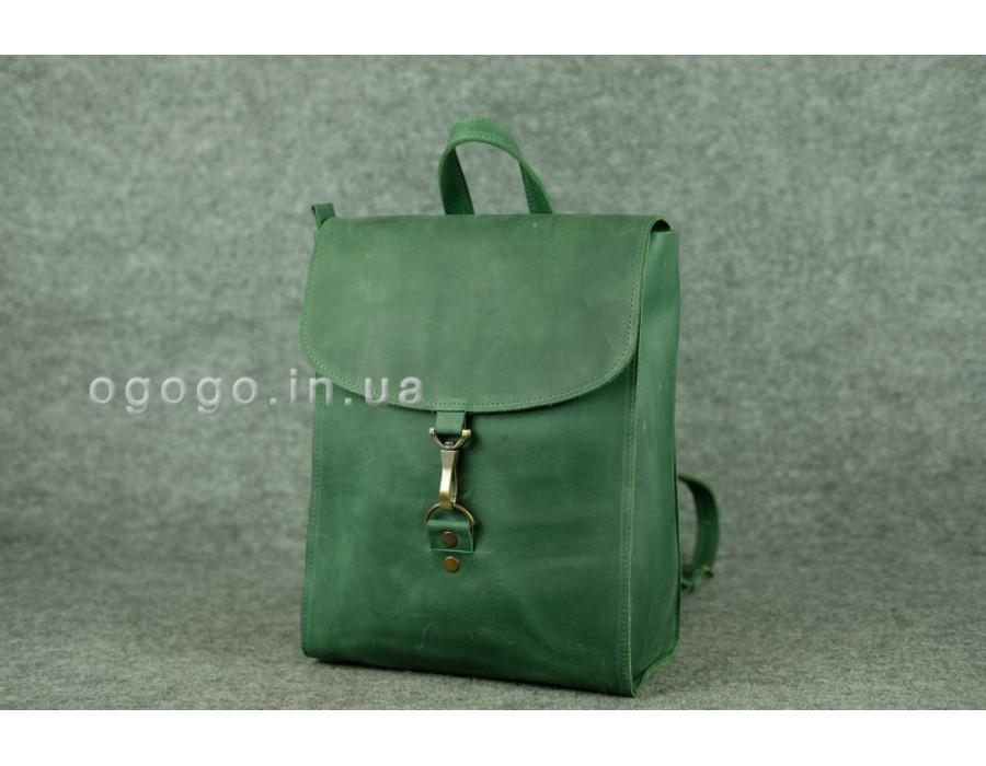 Зеленый кожаный рюкзак в ретро стиле K00031-8