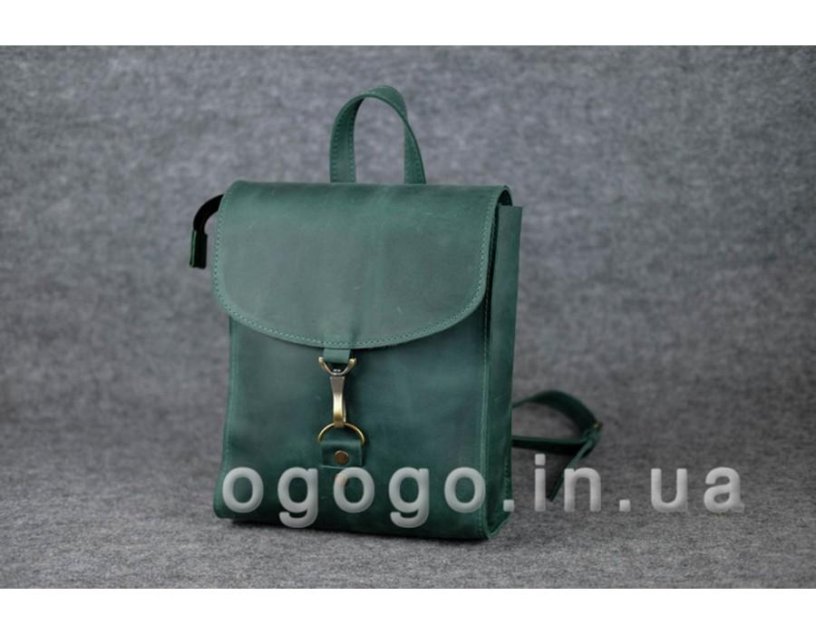 Зеленый кожаный рюкзак ручной работы на карабине K00031-9