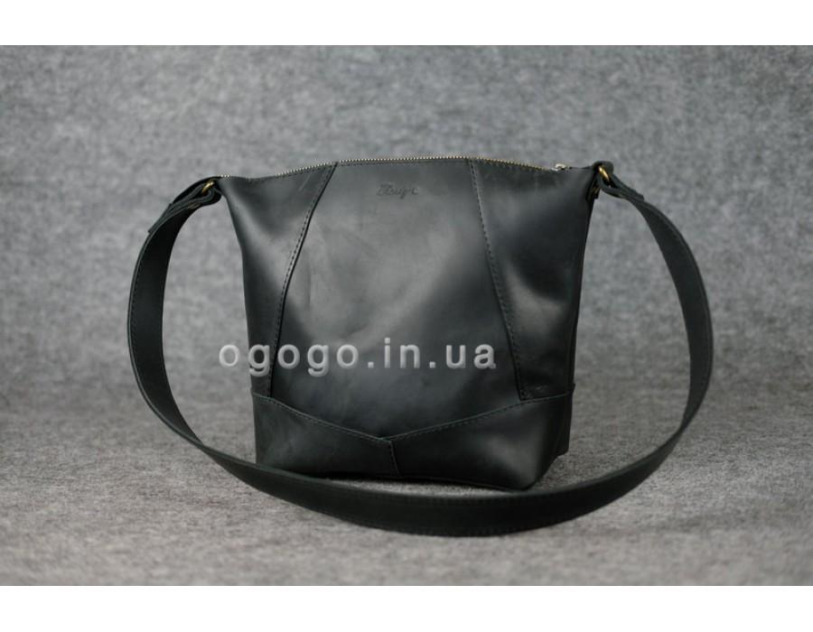Черная кожаная женская сумка через плечо К00032-6 1d8ab07c848