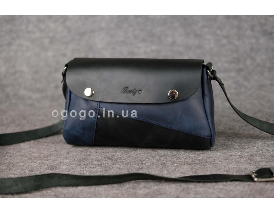 b0a13e8689f1 Черно-синяя кожаная женская сумка К00033-14