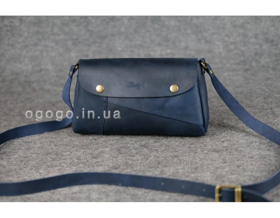 5af38edbc1b7 Синяя кожаная сумка через плечо К00033-6