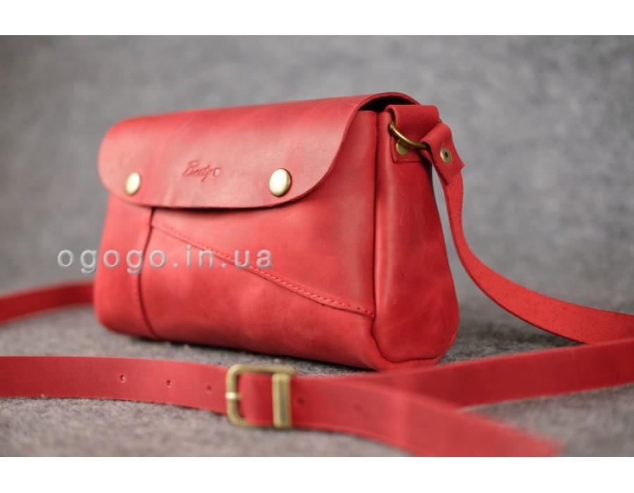 Красная маленькая кожаная сумочка ручной работы К00033-7
