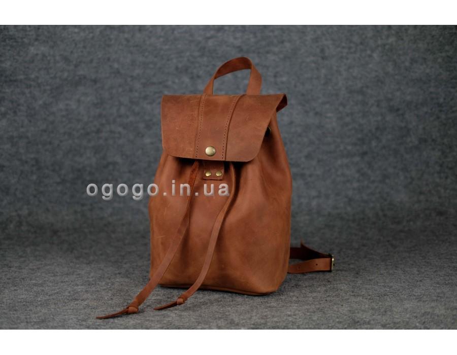 Модный кожаный рюкзак коньячного цвета K00034-8