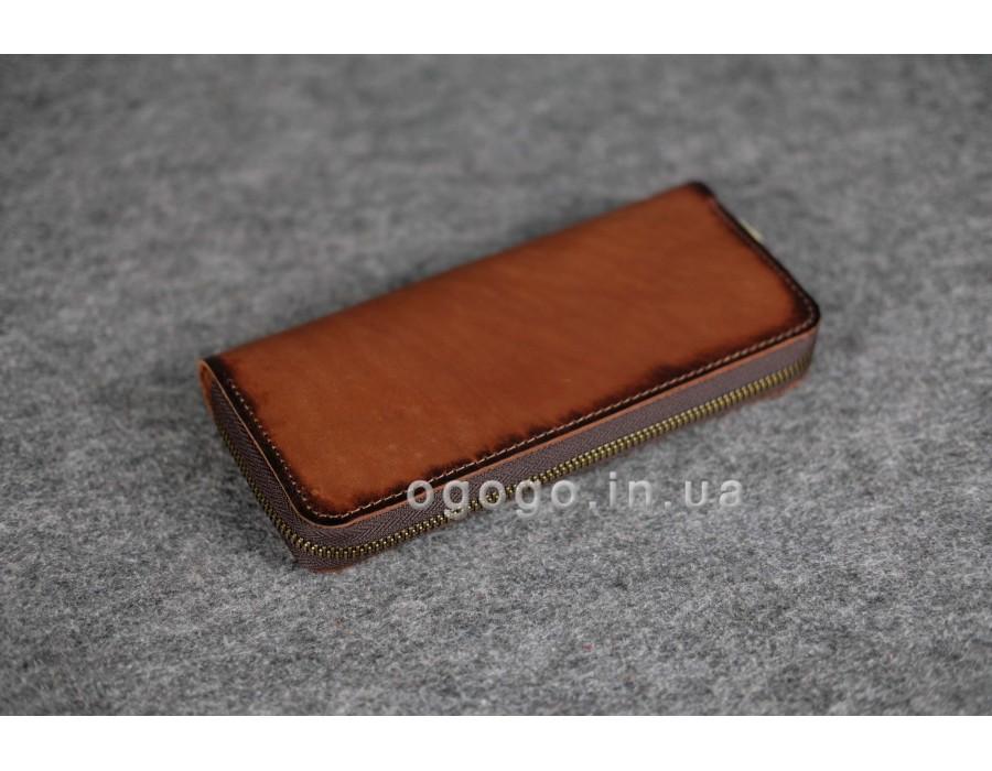 Красивый кожаный кошелек-клатч на круговой молнии K00035-10