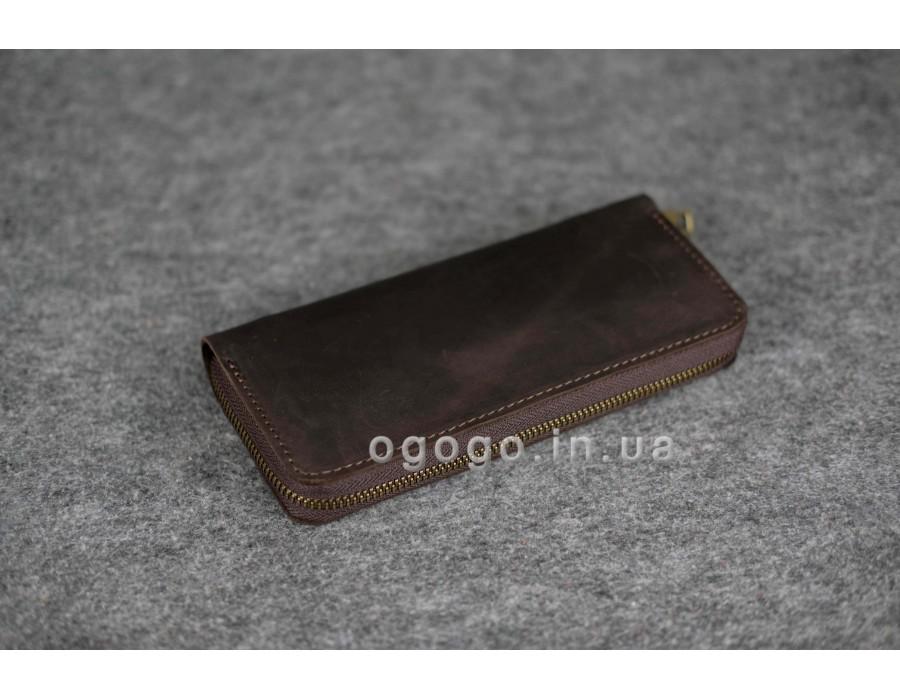 cf3005d6da5d Коричневый кожаный кошелек-клатч на молнии ручной работы K00035-6
