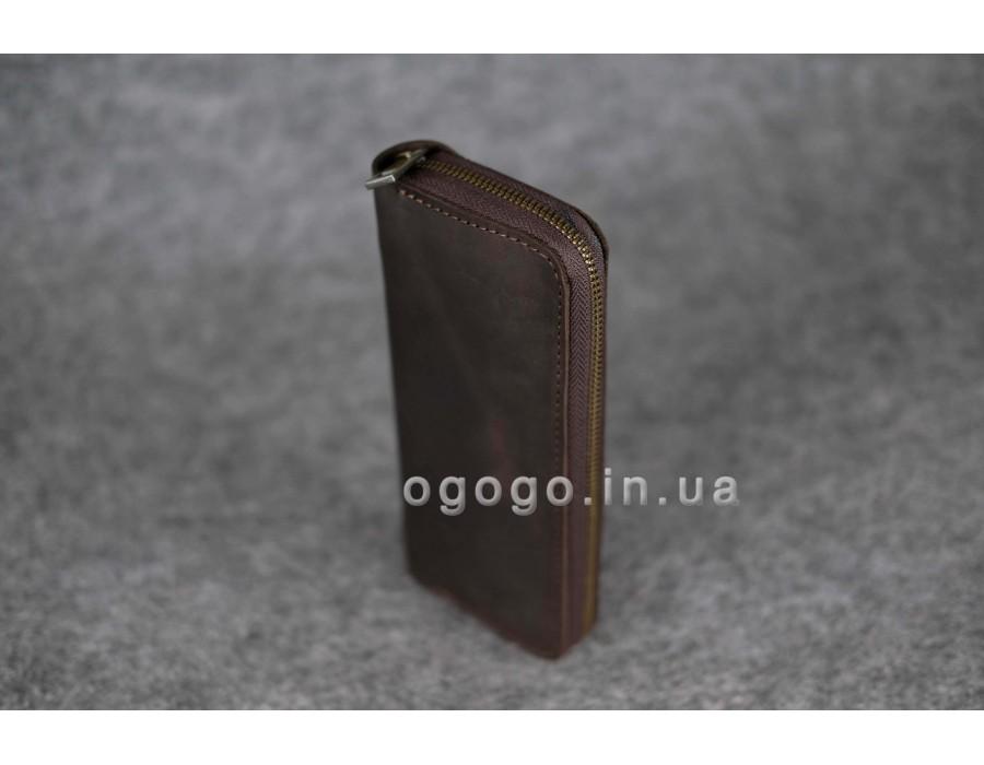 1211e32f566a Коричневый кожаный кошелек-клатч на молнии ручной работы K00035-6