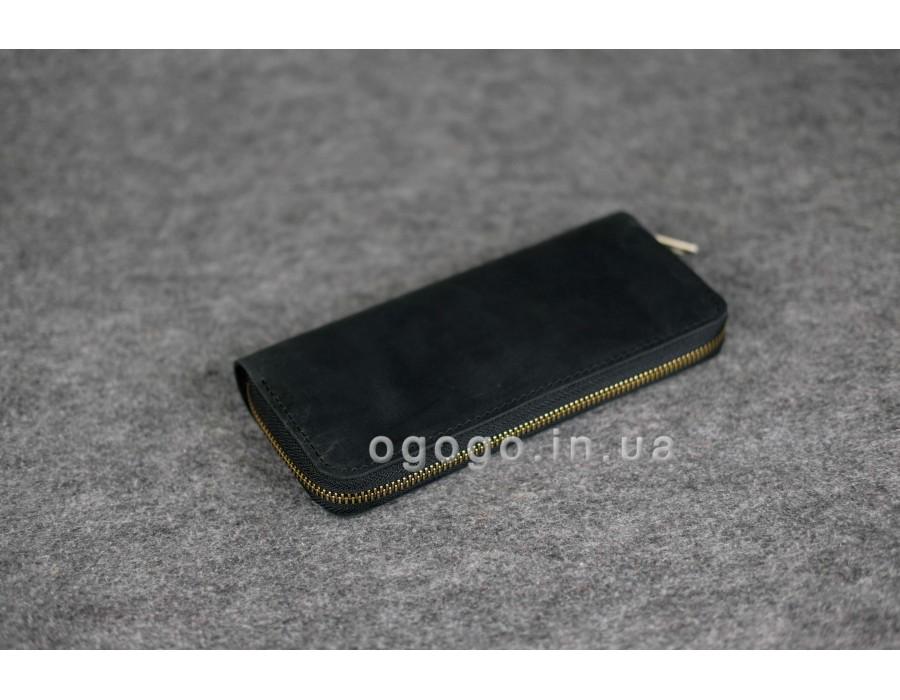 Классический черный кожаный кошелек с отделом для мелочи K00035-7