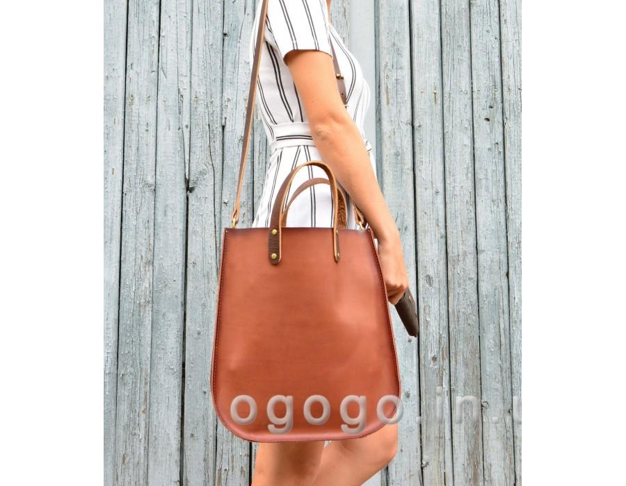 Кожаная сумка шоппер из натуральной кожи K00036-4