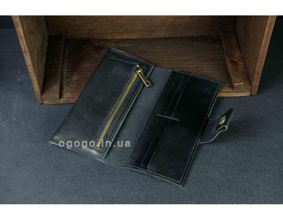 Большой кожаный черный кошелек ручной работы на кнопке K000036-11