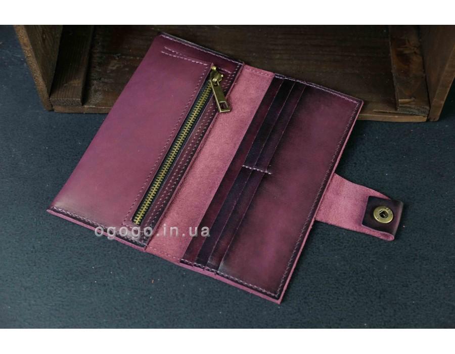 Большой кожаный женский кошелек на кнопке K000036-2