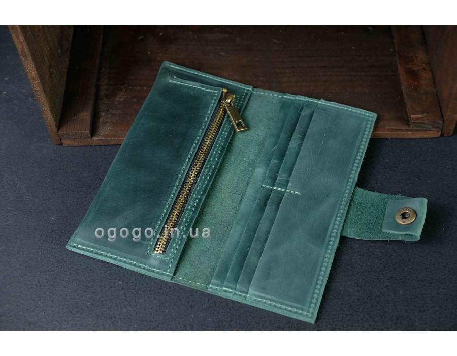 Большой кожаный женский кошелек зеленого цвета на кнопке K000036-3