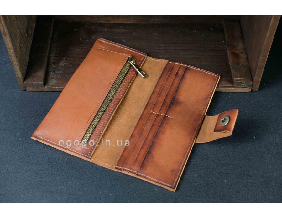 Красивый кожаный кошелек ручной работы K000036-6