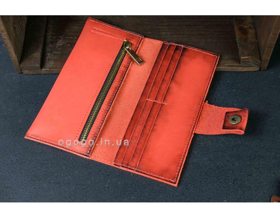 Большой кожаный красный кошелек K000036-8