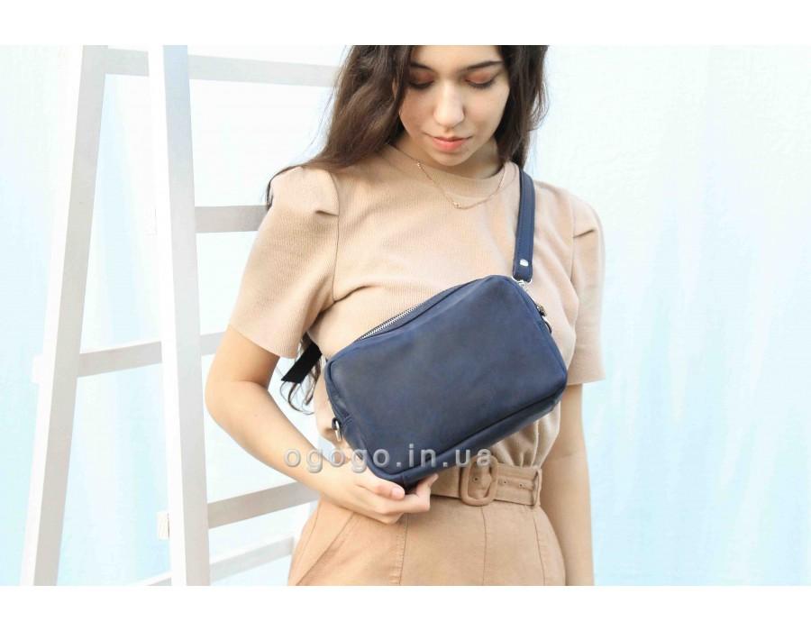 Синяя женская кожаная поясная сумка K00037-2
