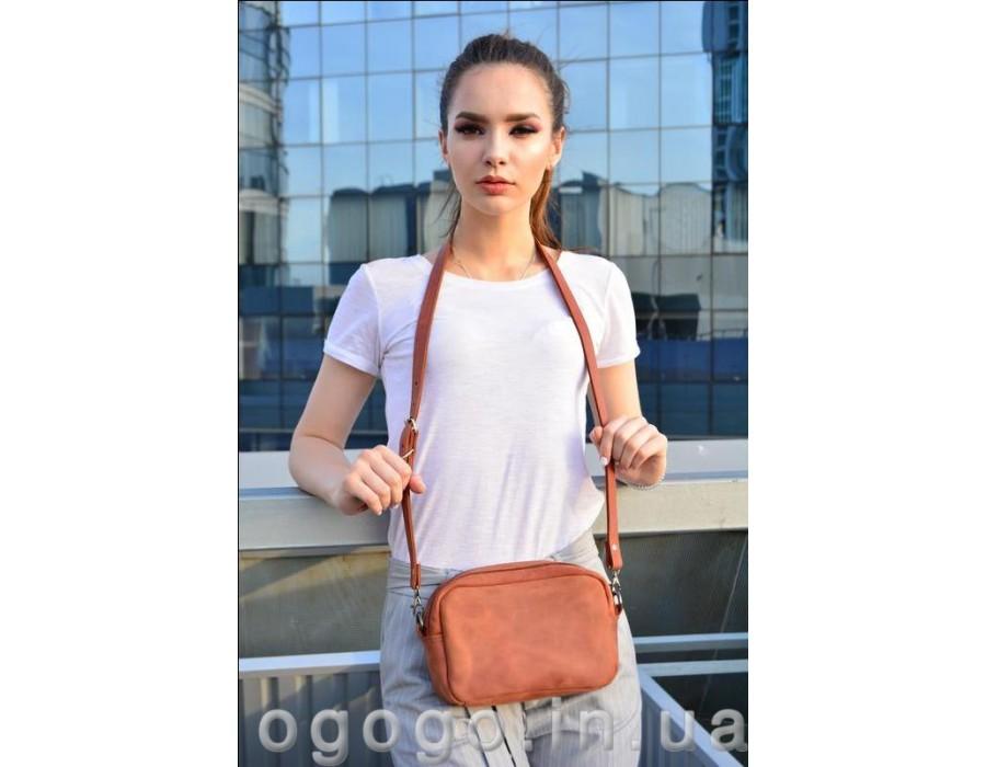 Рыжая поясная сумка бананка из натуральной кожи K00037-3