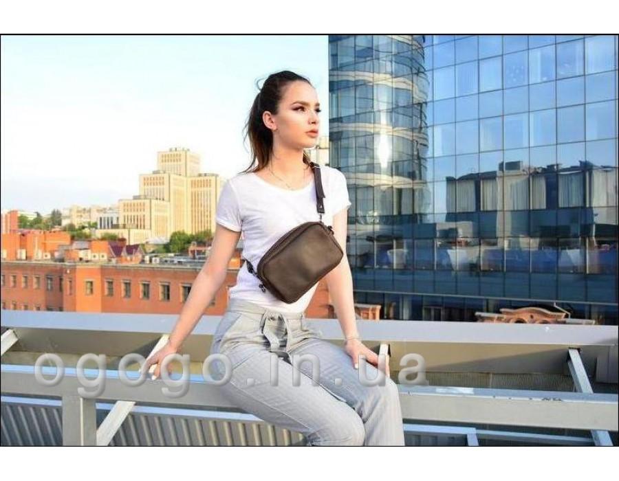 Кожаная сумка на грудь K00037-5