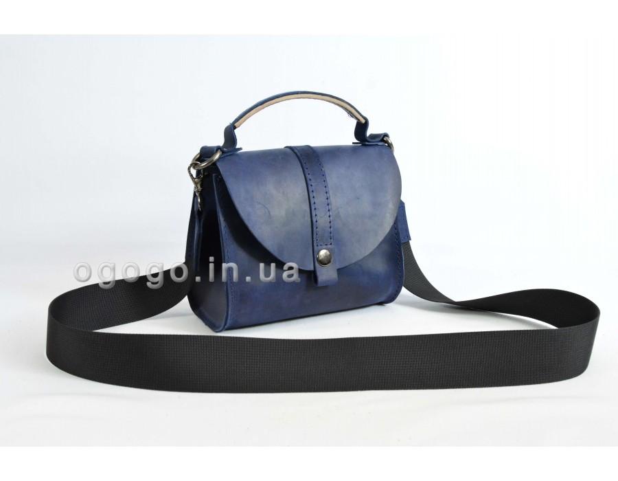 Синяя небольшая сумка из натуральной кожи K00038-3