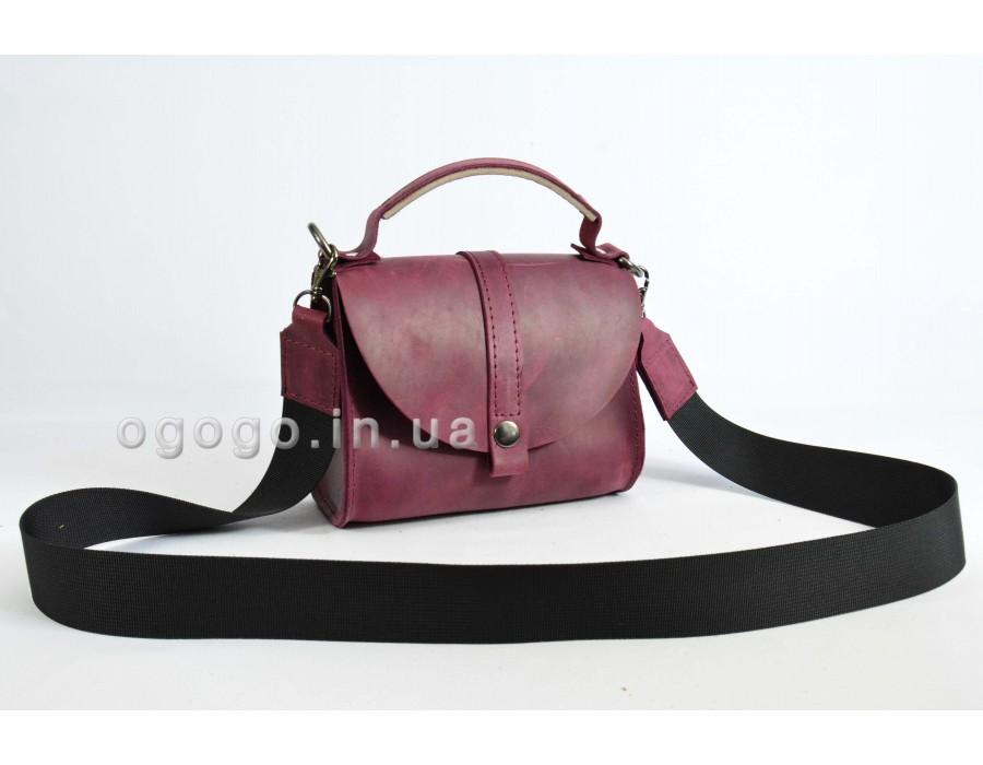 Бордовая кожаная женская сумочка K00038-4