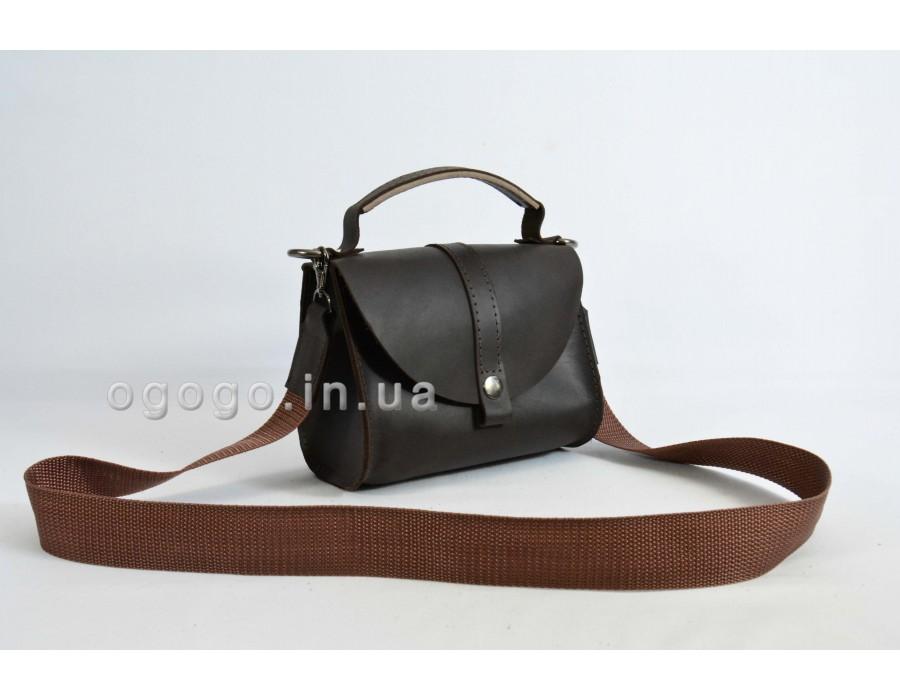 Коричневая кожаная маленькая сумочка K00038-5
