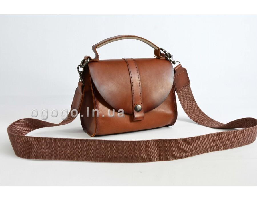 Женская сумка с короткой ручкой из натуральной кожи ручной работы K00038-7