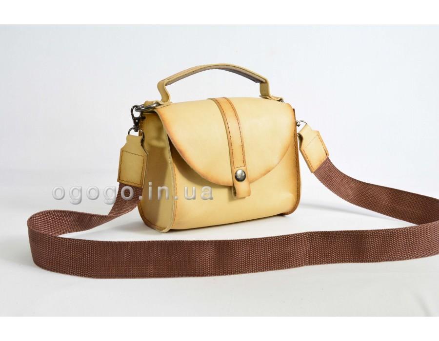 Бежевая кожаная сумка K00038-8