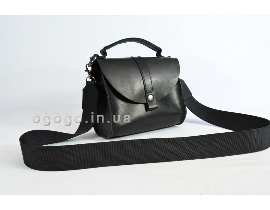 Черная маленькая кожаная сумка с короткой ручкой K00038-9