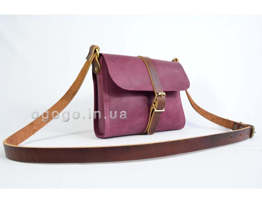 Бордовая кожаная женская сумка K00039-4