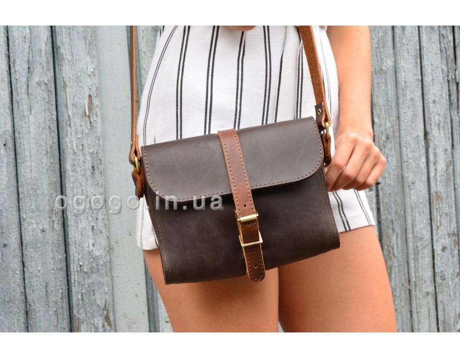 Маленькая коричневая кожаная сумочка ручной работы K00039-5