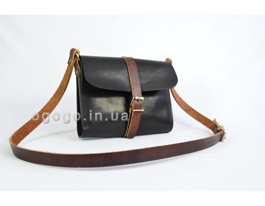 Стильная черная кожаная сумочка K00039-6