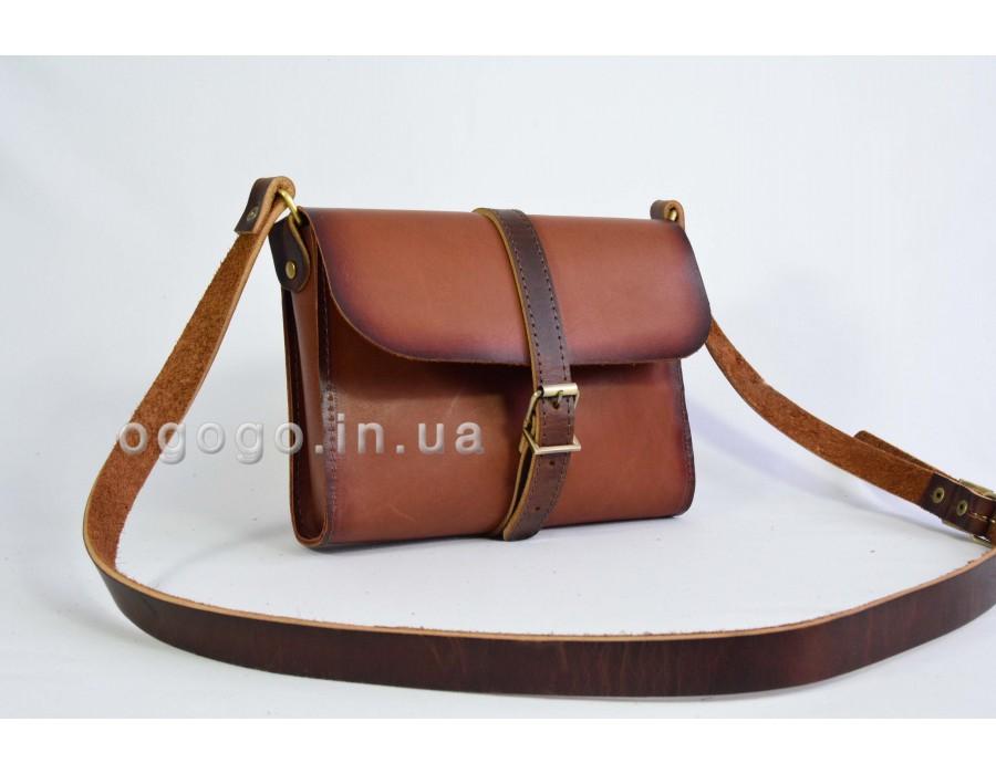 Коричневая сумка из натуральной кожи ручной работы K00039-7