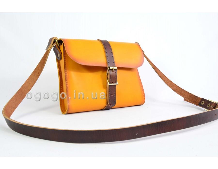 Желтая кожаная сумка K00039-8
