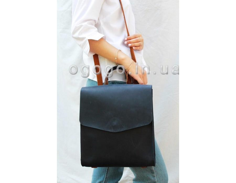 Синий маленький кожаный рюкзак K00040-3