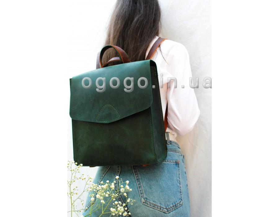 Зеленый рюкзачок из натуральной кожи K00040-5