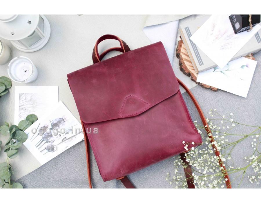 Кожаный бордовый рюкзачок ручной работы K00040-6