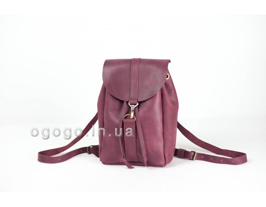 Бордовый кожаный женский рюкзак K00041-1