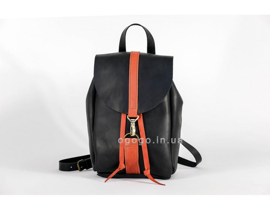 Черный рюкзак натуральная кожа ручной работы K00041-11