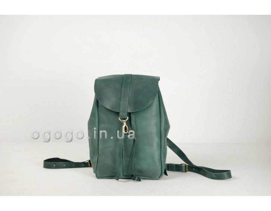 Зеленый кожаный женский рюкзак на карабине K00041-3