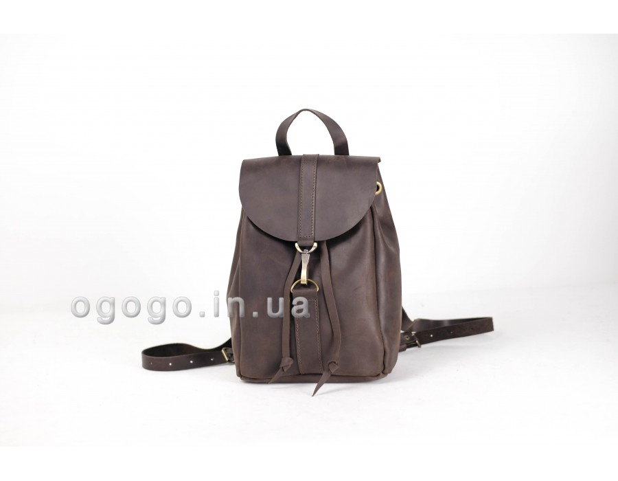 Модный кожаный рюкзак на карабине K00041-6