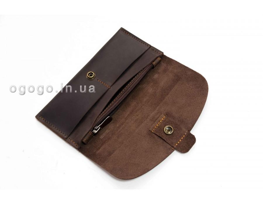 Тонкий кожаный кошелек шоколадного цвета K00043-3