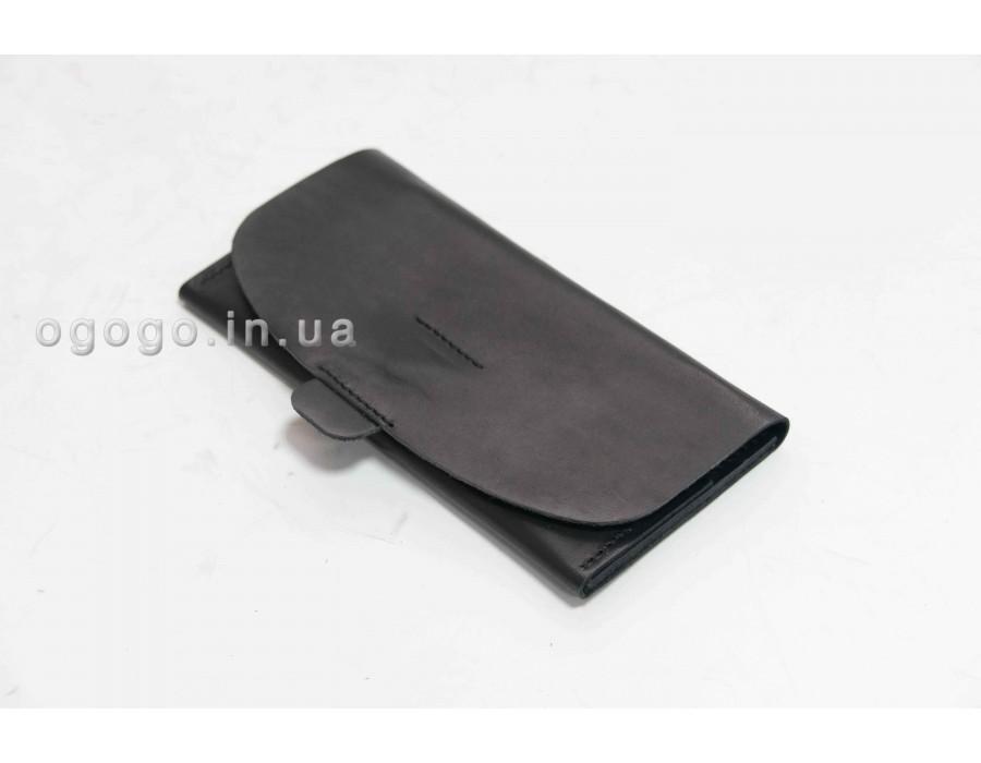 Классический черный кожаный кошелек K00043-9