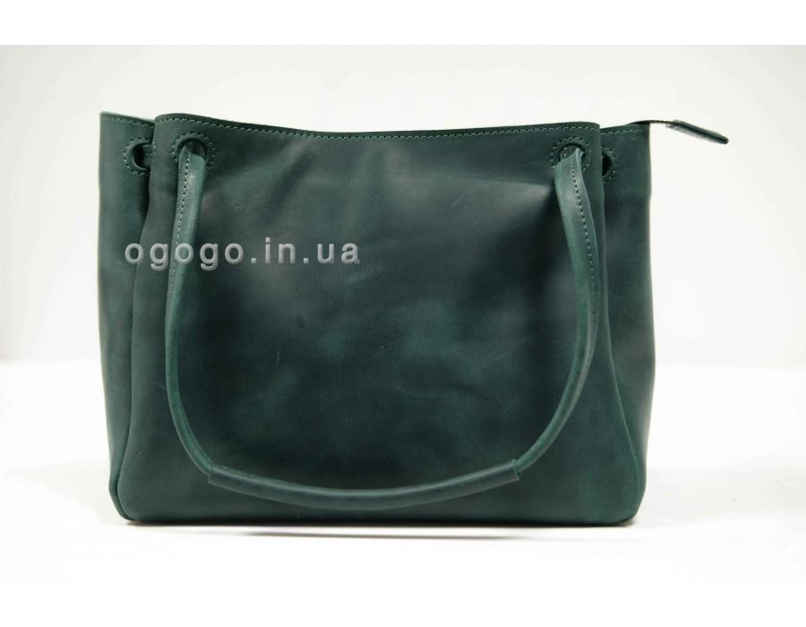 Зеленая кожаная женская сумка среднего размера K00044-1