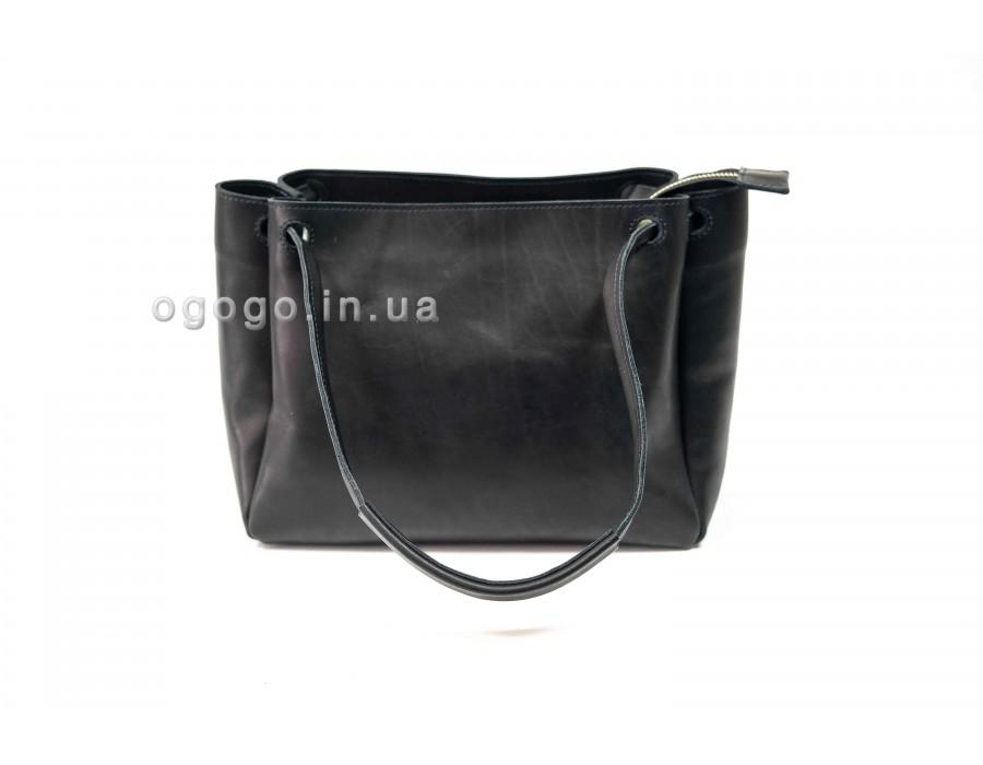 Черная женская сумка кожа ручной работа K00044-8