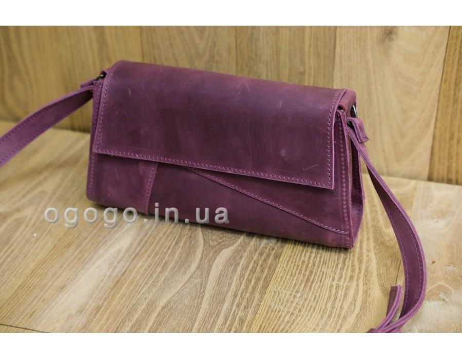 Кожаная бордовая сумочка на магнитах K00046-1