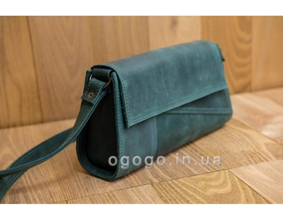 Маленькая зеленая сумочка натуральная кожа K00046-2