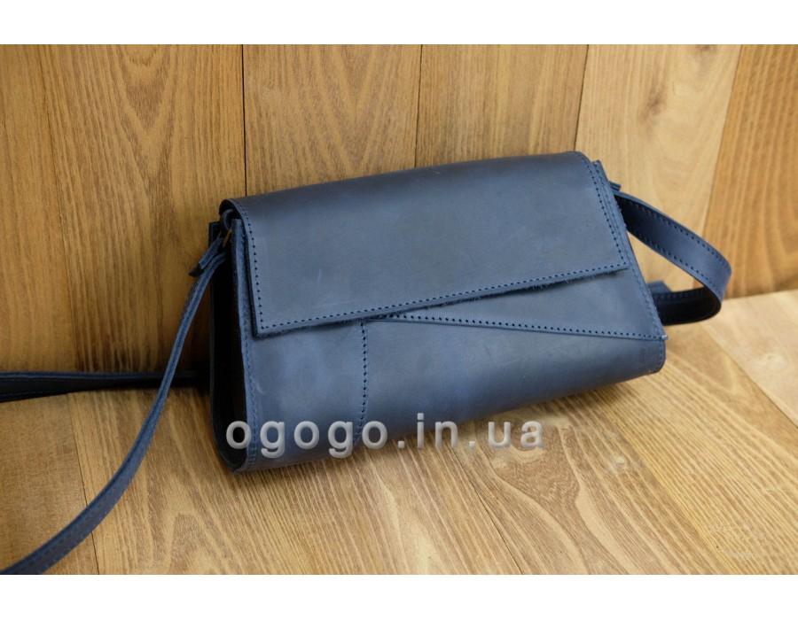 Синяя кожаная женская сумочка ручной работы K00046-5