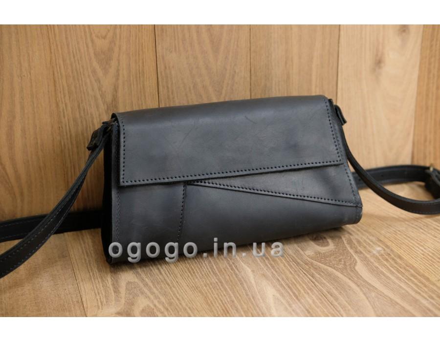 Модная черная сумочка ручной работы K00046-6