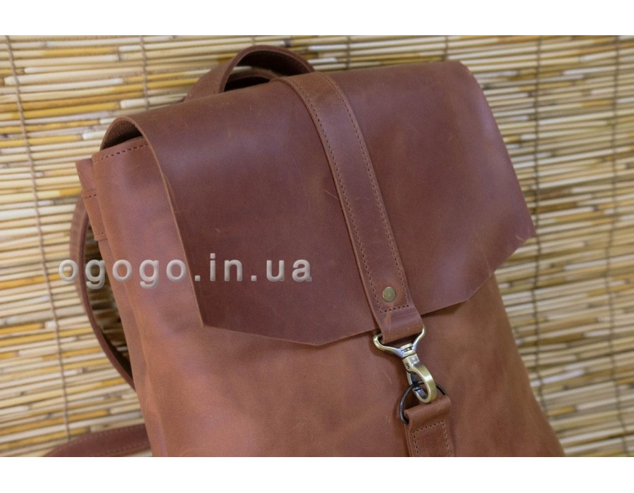 Большой кожаный рюкзак ручной работы K00047-1