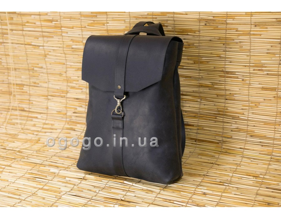 Черный кожаный рюкзак K00047-5