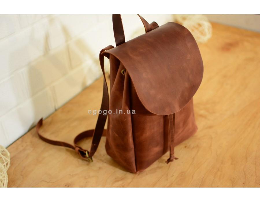 d7b4a3a487f1 Женский коричневый рюкзак из натуральной кожи ручной работы. K00013-4